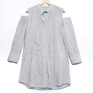 All Saints | Floria Pinstripe cold shoulder dress